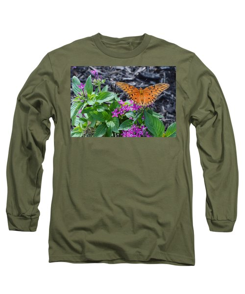 Open Wings Of The Gulf Fritillary Butterfly Long Sleeve T-Shirt