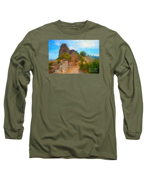 Opoul Castle Ruins Long Sleeve T-Shirt by Gerhardt Isringhaus