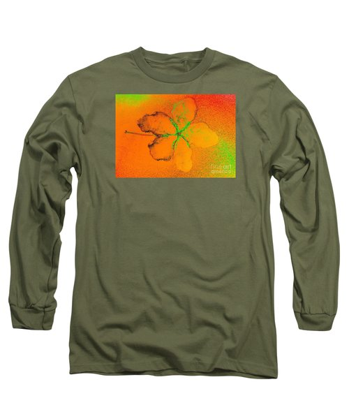 Orange Abstract Flower By Jasna Gopic Long Sleeve T-Shirt by Jasna Gopic