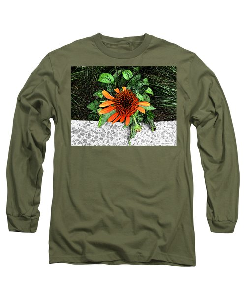 Long Sleeve T-Shirt featuring the photograph Orange At Highline Nyc by Joan  Minchak