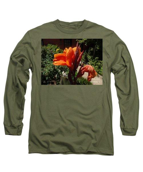 Orange Canna Lily Long Sleeve T-Shirt by Rod Ismay