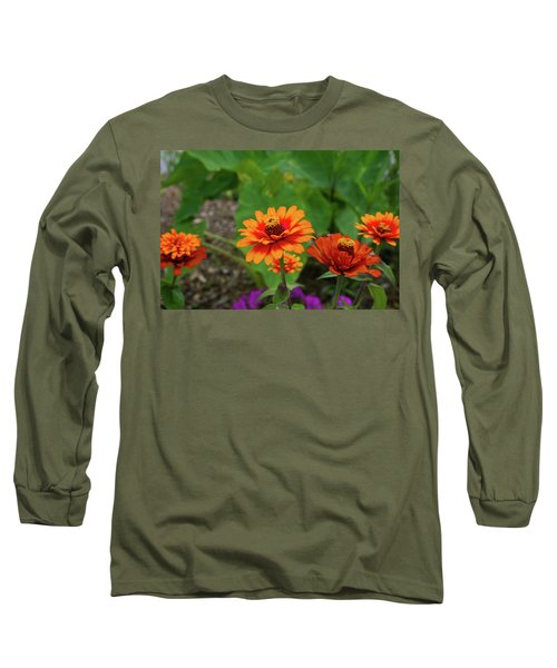 Long Sleeve T-Shirt featuring the photograph Orange Flowers by Cathy Harper