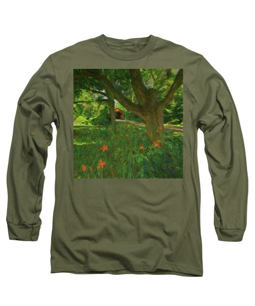 Long Sleeve T-Shirt featuring the photograph Orange Flowers by Lewis Mann