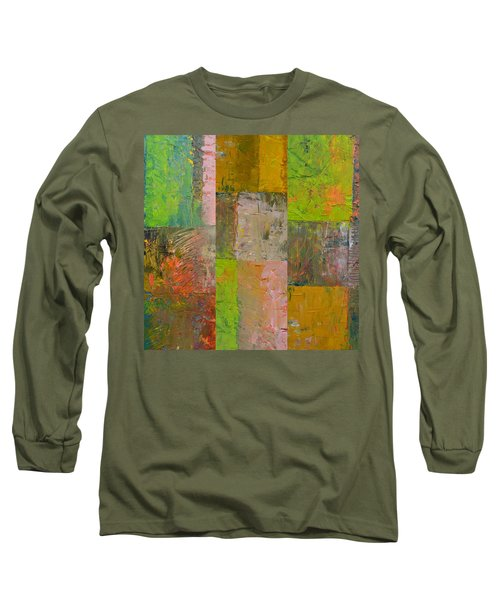 Long Sleeve T-Shirt featuring the painting Orange Green And Grey by Michelle Calkins