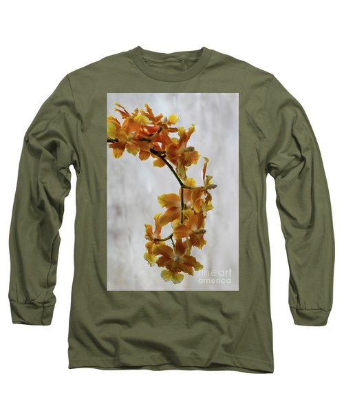 Orange Orchids Long Sleeve T-Shirt by Darleen Stry