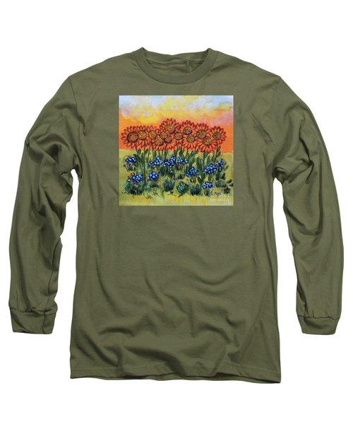 Orange Sunset Flowers Long Sleeve T-Shirt