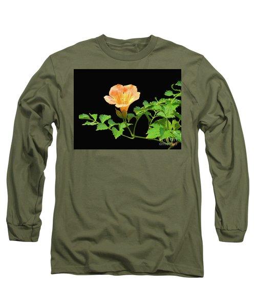 Orange Trumpet Flower Long Sleeve T-Shirt by Susan Lafleur