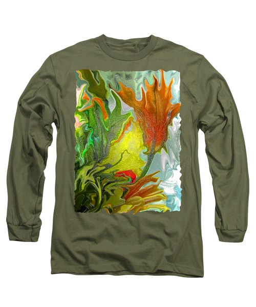Orange Tulip Long Sleeve T-Shirt by Kathy Moll