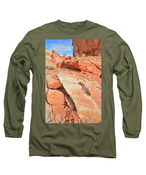 Orange Valley In Valley Of Fire Long Sleeve T-Shirt by Ray Mathis