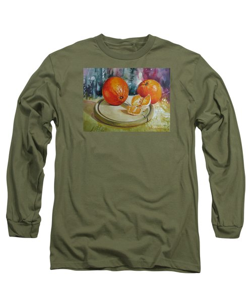 Long Sleeve T-Shirt featuring the painting Oranges by Elena Oleniuc