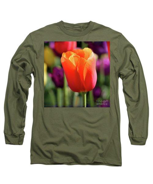 Orange Tulip Square Long Sleeve T-Shirt