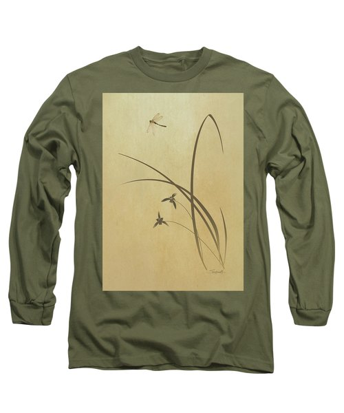 Orchid And Dragonfly Long Sleeve T-Shirt