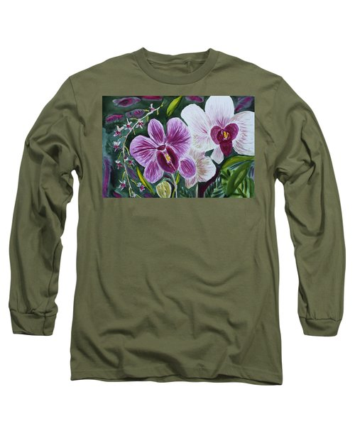 Long Sleeve T-Shirt featuring the painting Orchid At Aos 2010 by Donna Walsh