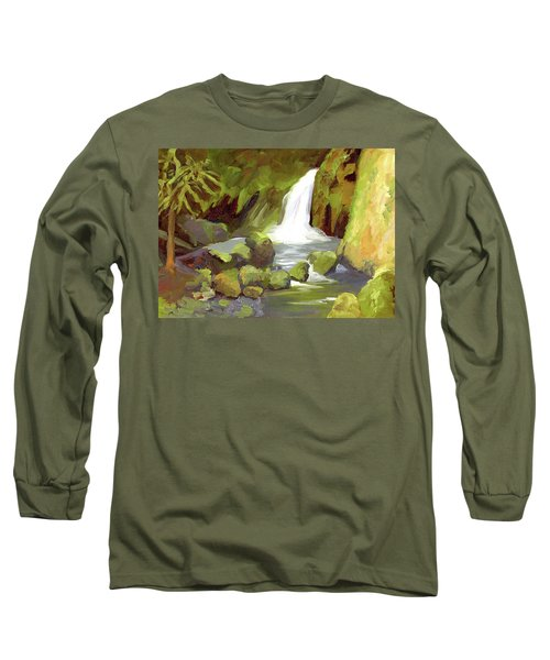 Oregon Waterfall Long Sleeve T-Shirt by Alice Leggett