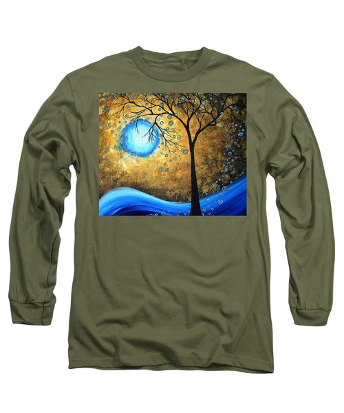 Orginal Abstract Landscape Painting Blue Fire By Madart Long Sleeve T-Shirt