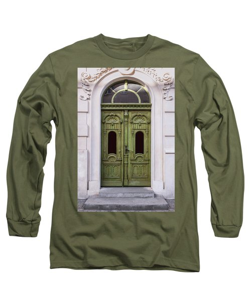 Ornamented Gates In Olive Colors Long Sleeve T-Shirt by Jaroslaw Blaminsky