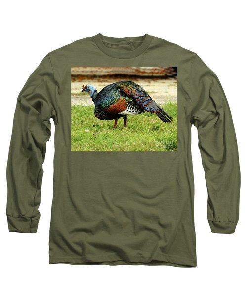 Oscillated Turkey Long Sleeve T-Shirt by Kathy McClure
