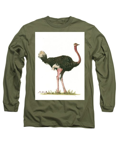 Ostrich Bird Long Sleeve T-Shirt by Juan Bosco