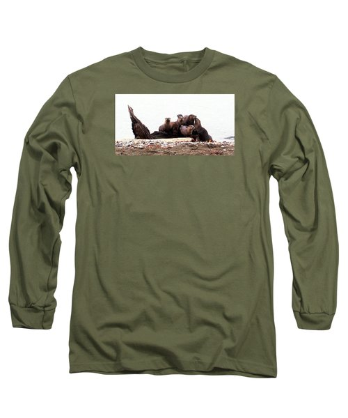 Otters In Boulevard Park Long Sleeve T-Shirt by Karen Molenaar Terrell