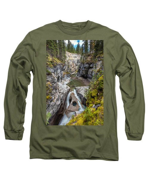 Long Sleeve T-Shirt featuring the photograph Owl Face Falls Of Maligne Canyon by Pierre Leclerc Photography