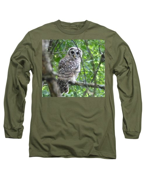 Owl On A Limb Long Sleeve T-Shirt by Donald C Morgan