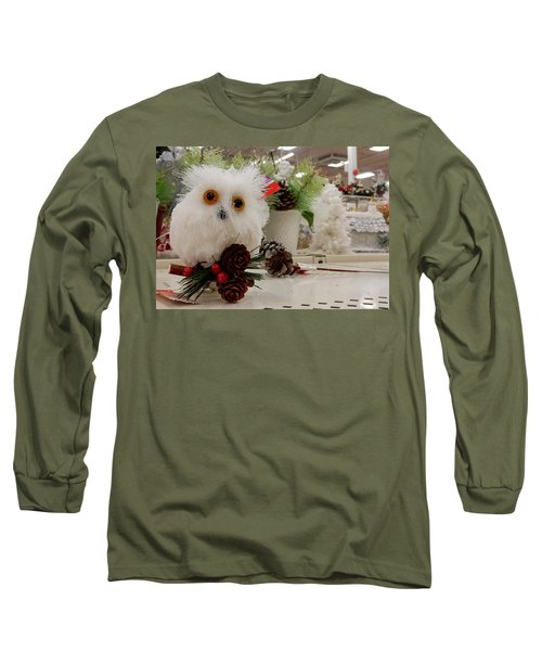 Owl On The Shelf Long Sleeve T-Shirt by Betty-Anne McDonald