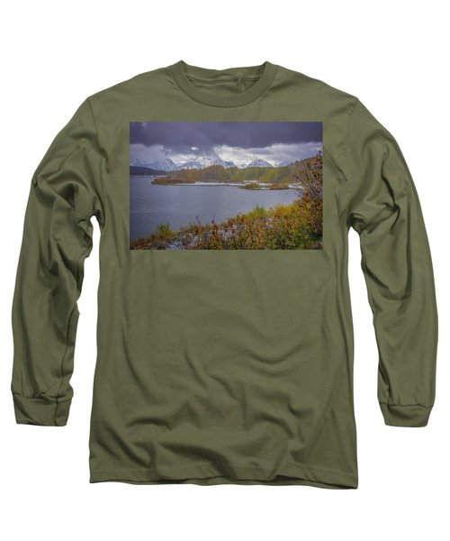 Oxbow Bend Fall Snowfall Long Sleeve T-Shirt
