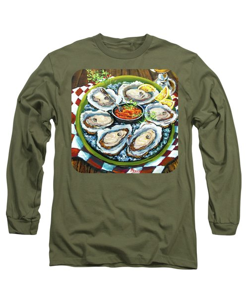 Oysters On The Half Shell Long Sleeve T-Shirt by Dianne Parks