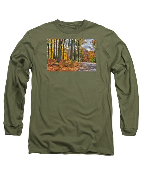 Pa Country Roads - Autumn Colorfest No. 3 - Fire In The Woods - Northumberland County Long Sleeve T-Shirt by Michael Mazaika