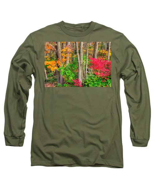 Pa Country Roads - Autumn Flourish - Harmony Hill Nature Area - Chester County Pa Long Sleeve T-Shirt by Michael Mazaika