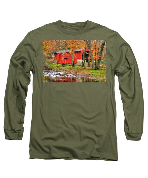 Pa Country Roads- Bartrams / Goshen Covered Bridge Over Crum Creek No.11 Chester / Delaware Counties Long Sleeve T-Shirt by Michael Mazaika
