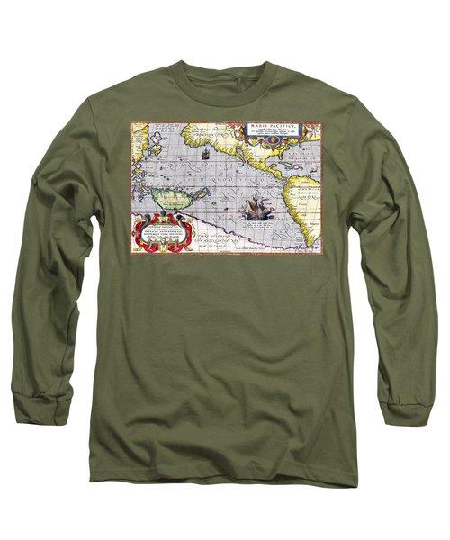 Pacific Ocean Vintage Map Long Sleeve T-Shirt