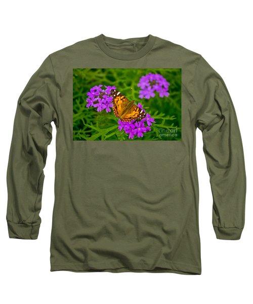 Painted Lady On Purple Verbena Long Sleeve T-Shirt