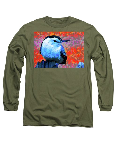 Painted White Breasted Nuthatch Long Sleeve T-Shirt