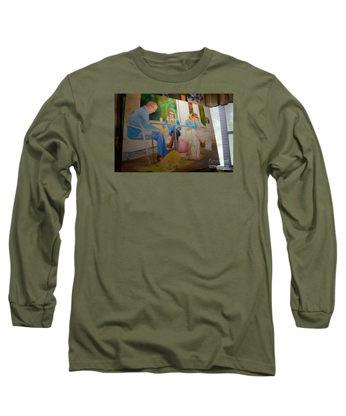 Long Sleeve T-Shirt featuring the painting Painting Dogs On Park Avenue by AnnaJo Vahle