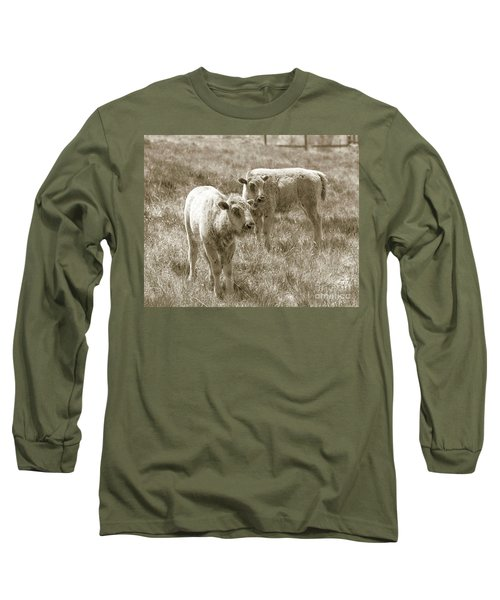 Long Sleeve T-Shirt featuring the photograph Pair Of Baby Buffalos by Rebecca Margraf