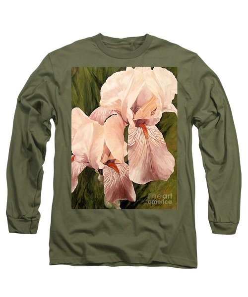 Pair Of Peach Iris  Long Sleeve T-Shirt by Laurie Rohner