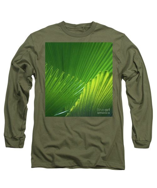 Palm Leaves Long Sleeve T-Shirt by Atiketta Sangasaeng