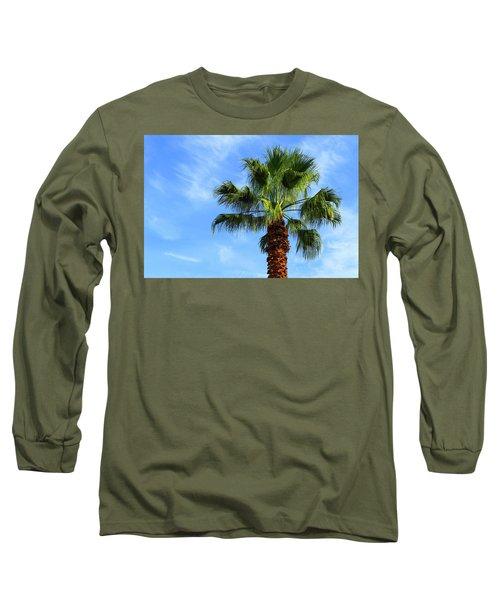 Palm Tree, Blue Sky, Wispy Clouds Long Sleeve T-Shirt