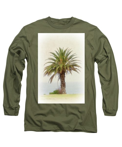 Palm Tree In Coastal California In A Retro Style Long Sleeve T-Shirt
