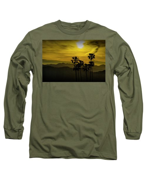 Long Sleeve T-Shirt featuring the photograph Palm Trees At Sunset With Mountains In California by Randall Nyhof