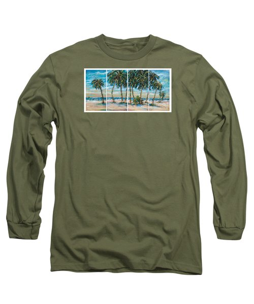 Long Sleeve T-Shirt featuring the painting Palms Along The Shore by Linda Olsen