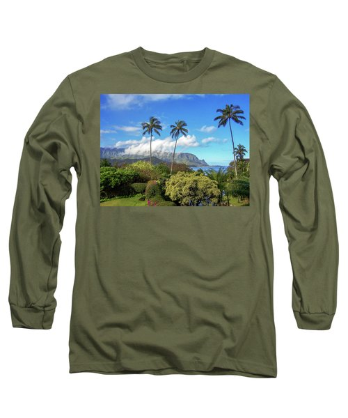 Palms At Hanalei Long Sleeve T-Shirt by James Eddy