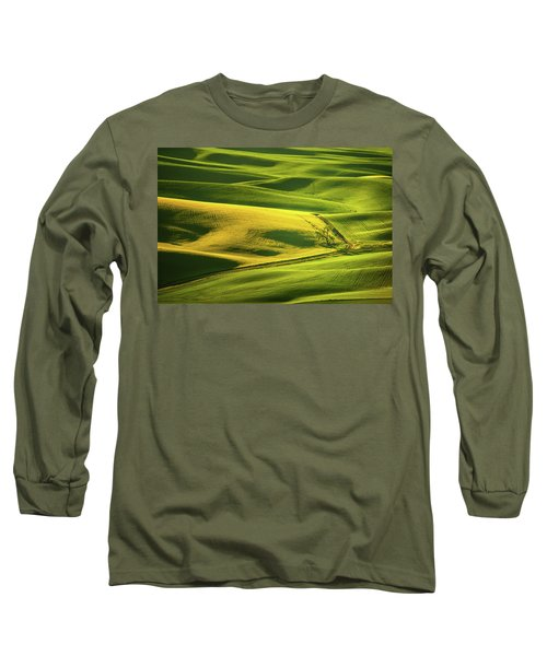 Long Sleeve T-Shirt featuring the photograph Palouse Shades Of Green by Dan Mihai