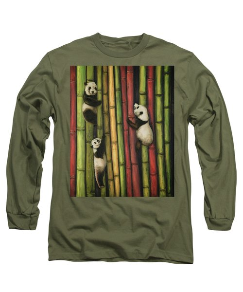 Long Sleeve T-Shirt featuring the painting Pandas Climbing Bamboo by Leah Saulnier The Painting Maniac