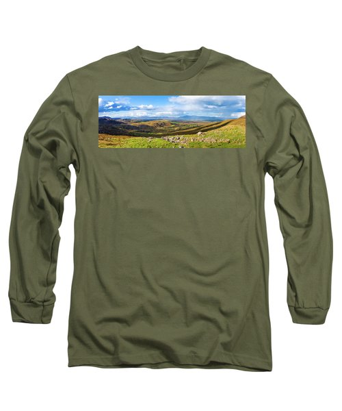 Panorama Of A Colourful Undulating Irish Landscape In Kerry Long Sleeve T-Shirt by Semmick Photo