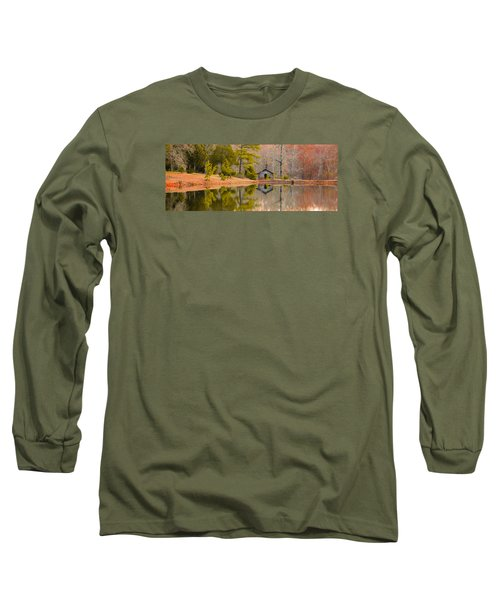Panorama Of Cabin By The Lake Long Sleeve T-Shirt by Shelby  Young