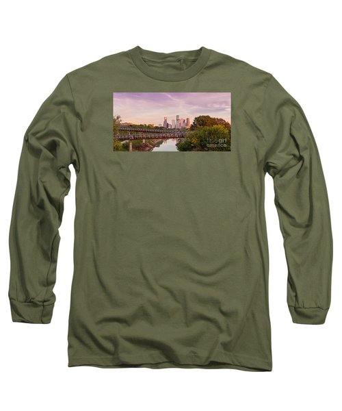 Panorama Of Downtown Houston Skyline From Studemont Drive - Buffalo Bayou Park Houston Texas Long Sleeve T-Shirt