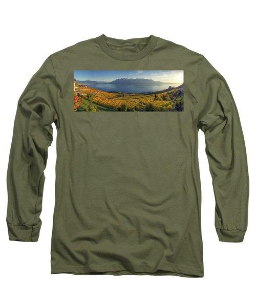 Panorama On Lavaux Region, Vaud, Switzerland Long Sleeve T-Shirt