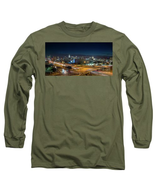Panoramic View Of Busy Austin Texas Downtown Long Sleeve T-Shirt